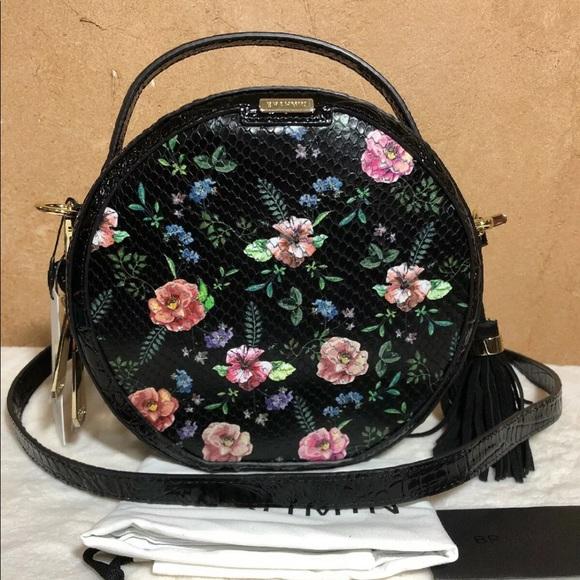 42b101a07e BRAHMIN Lane Black Floral Thames Leather Crossbody
